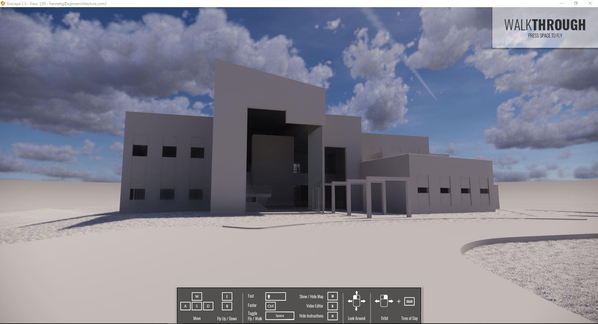 Screenshot of Enscape screen (VR program), showing a massing study
