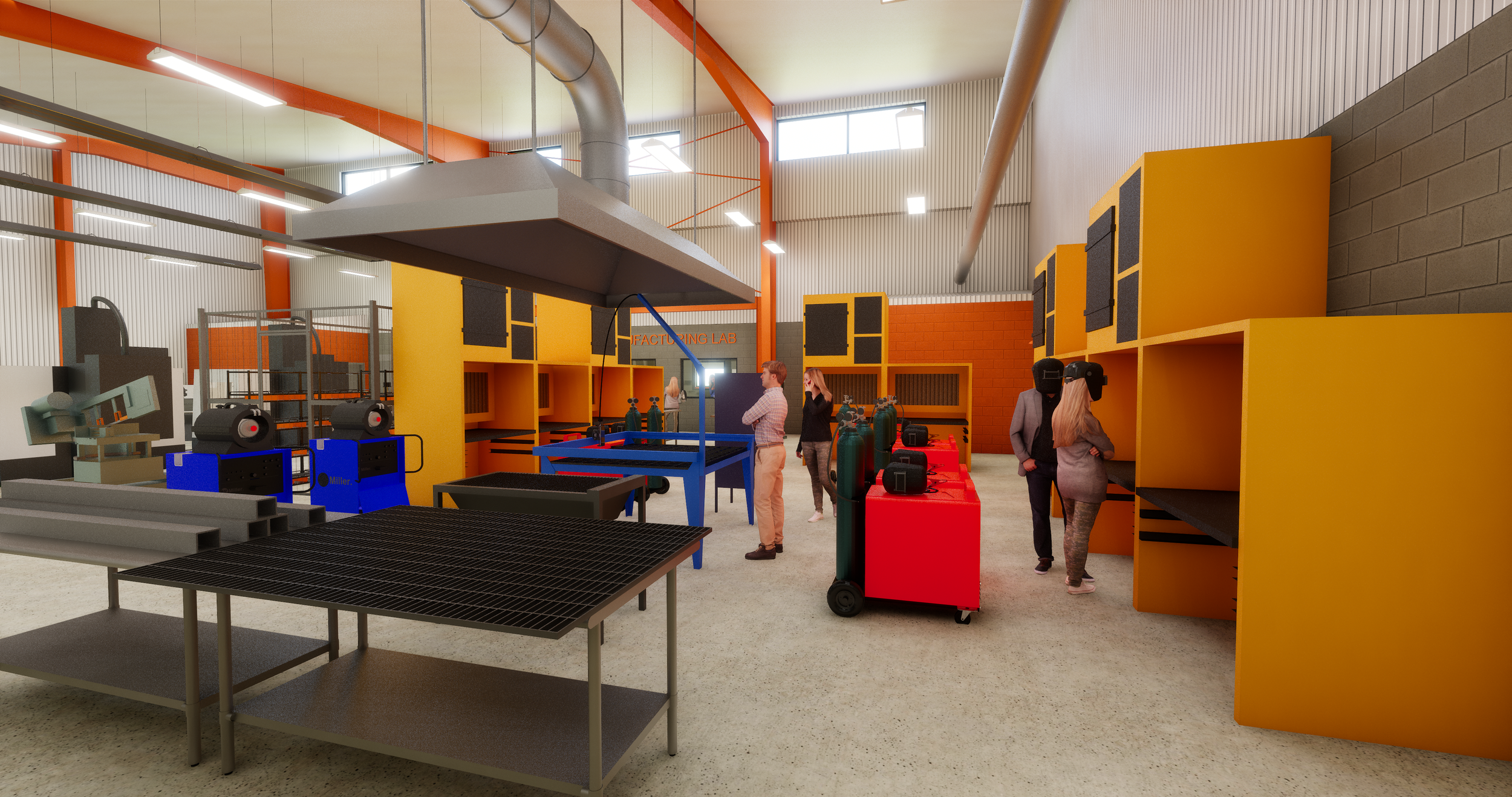 3D Rendering from Enscape showing the Welding Lab in the Technology and Innovation Center
