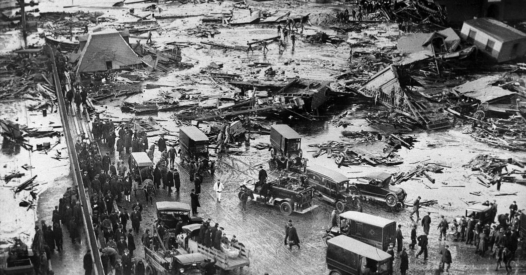 The north end of Boston after the Molasses tank exploded.