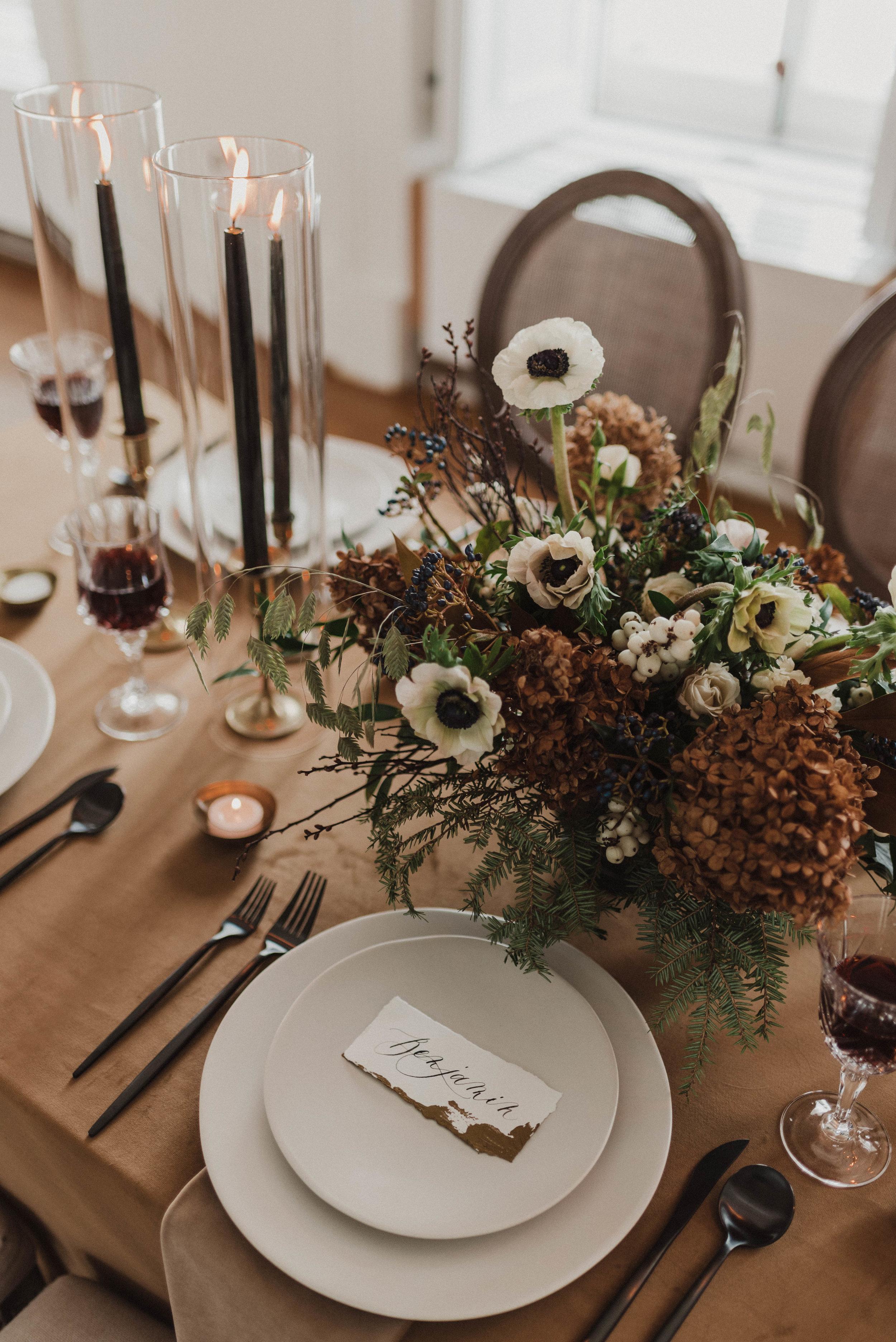Wedding reception dinner table setting.