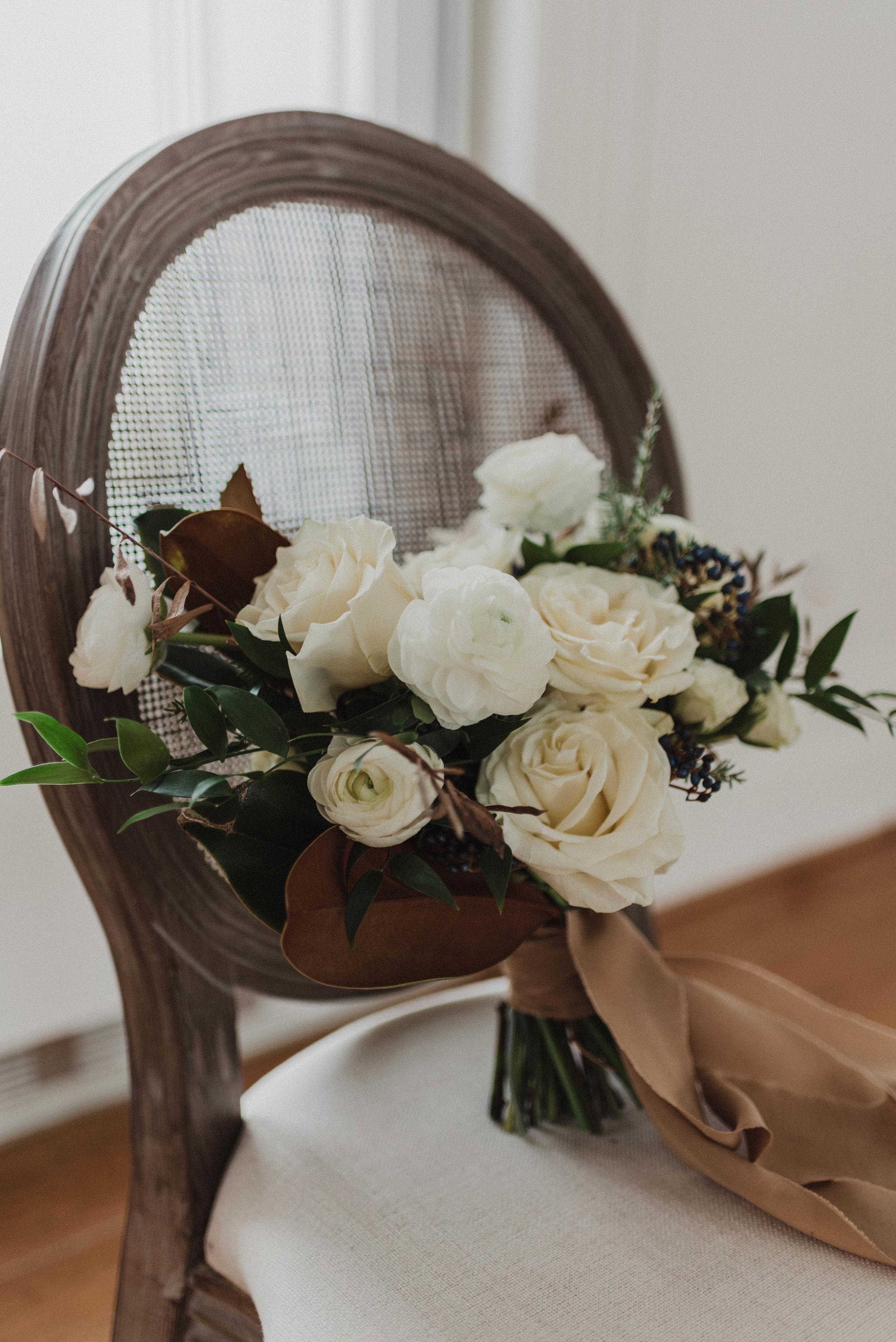 Winter wedding bouquet floral arrangement