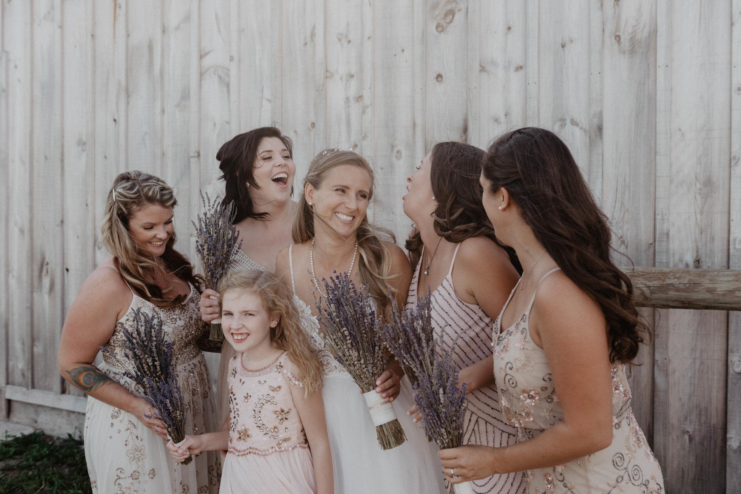 Rustic bridal party portrait session.