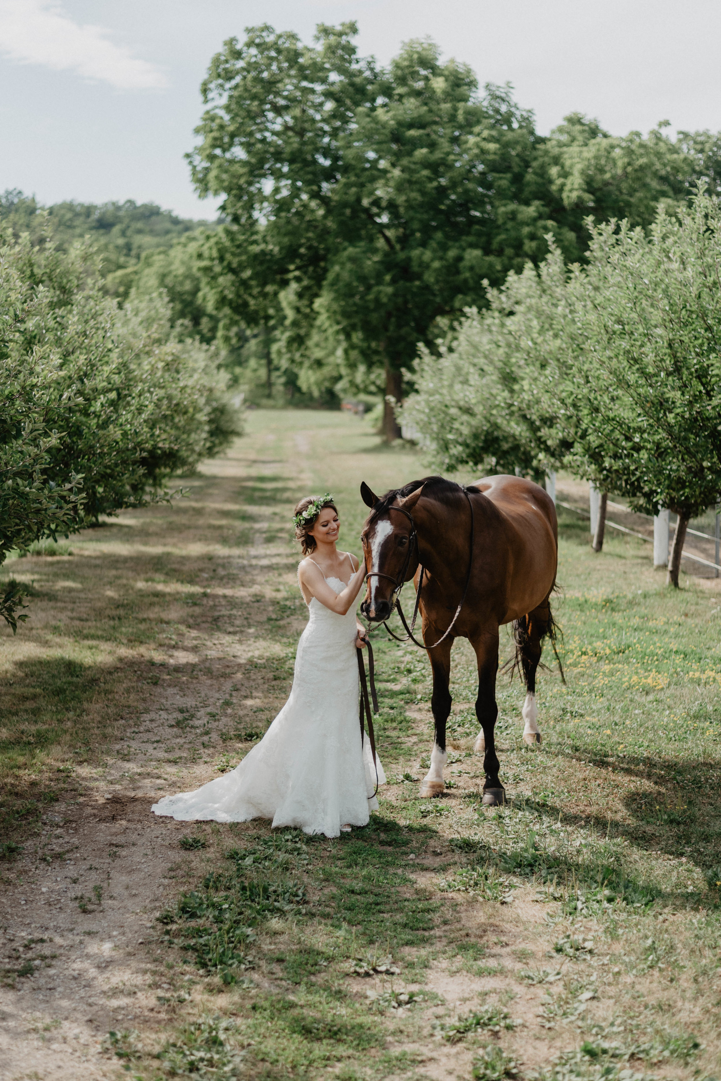 Bride and horse in orchard