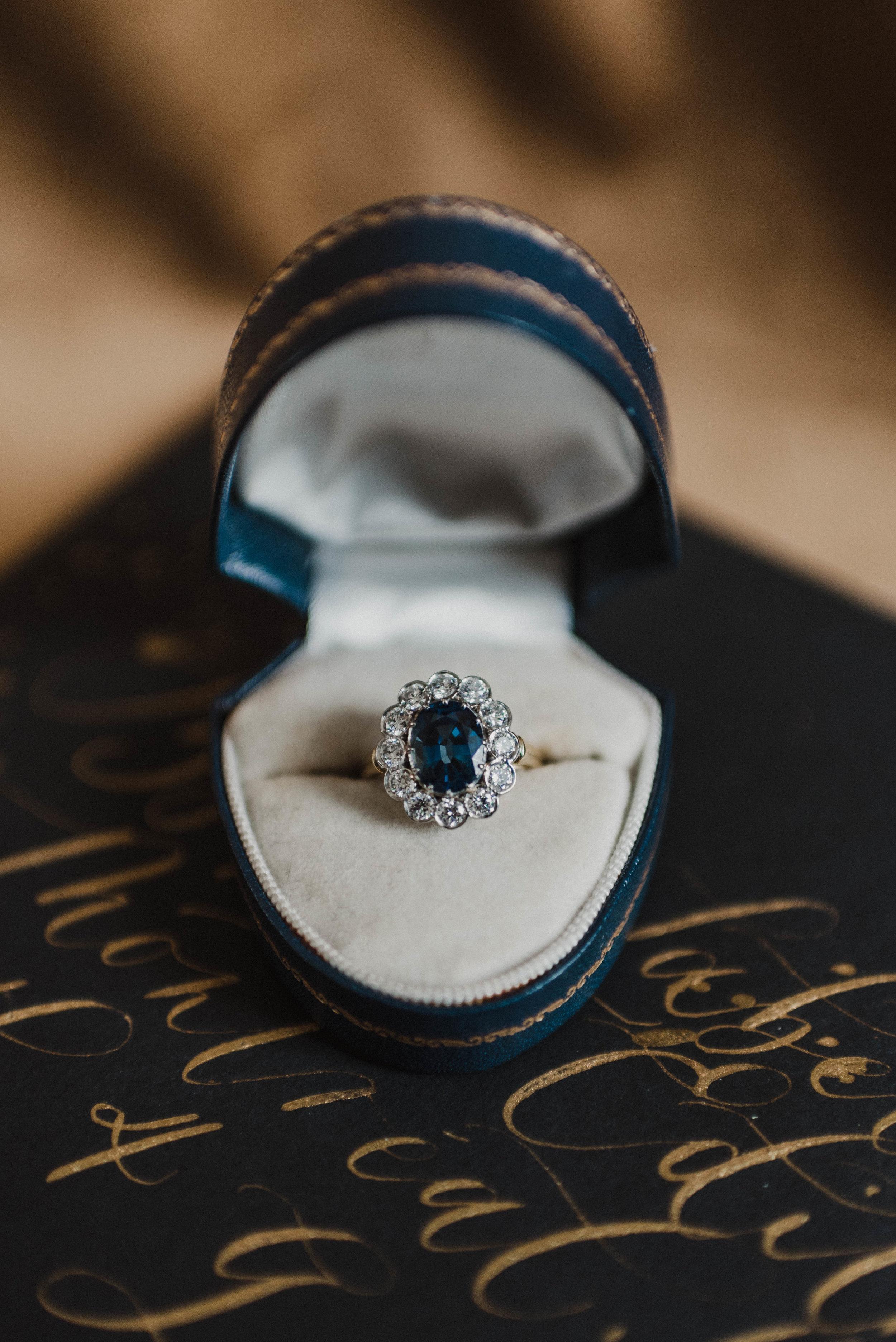 Trumpet & Horn elegant sapphire engagement ring.