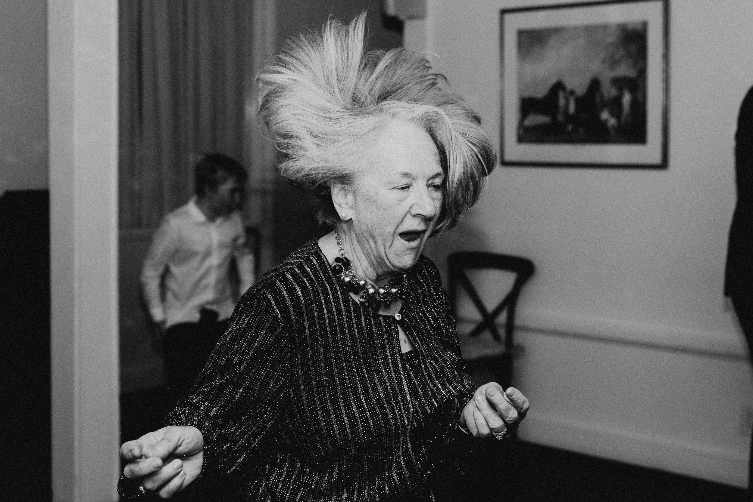 Mom rocks out at wedding reception