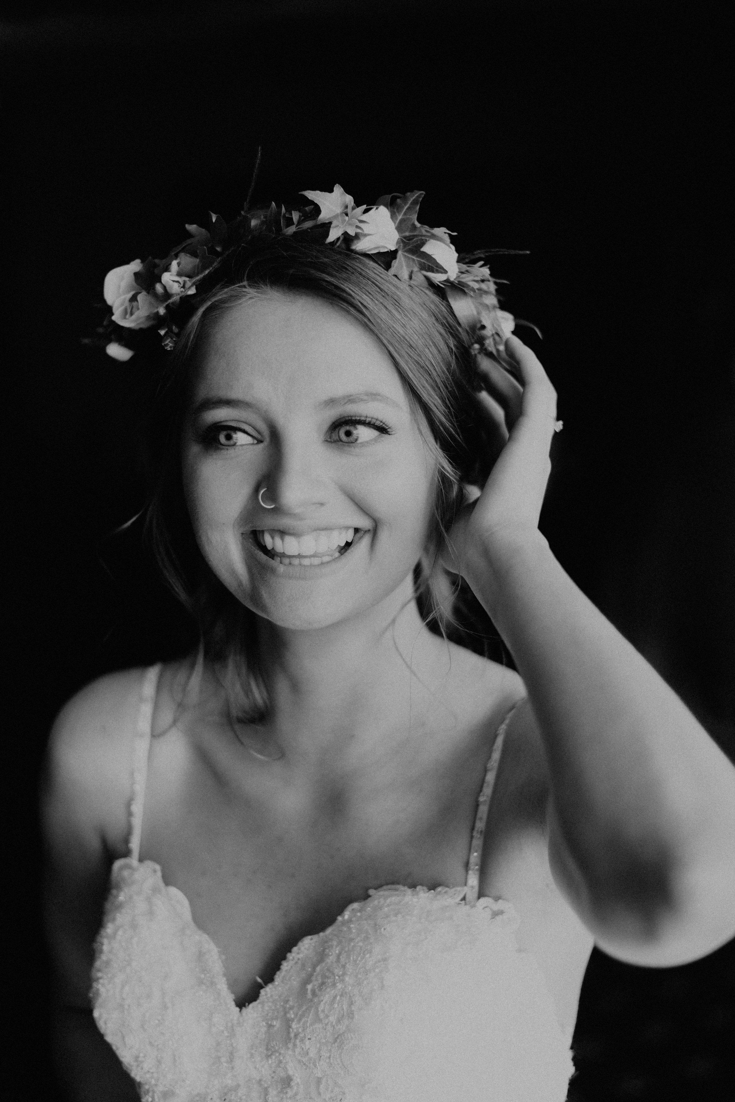 Excited bride in floral crown