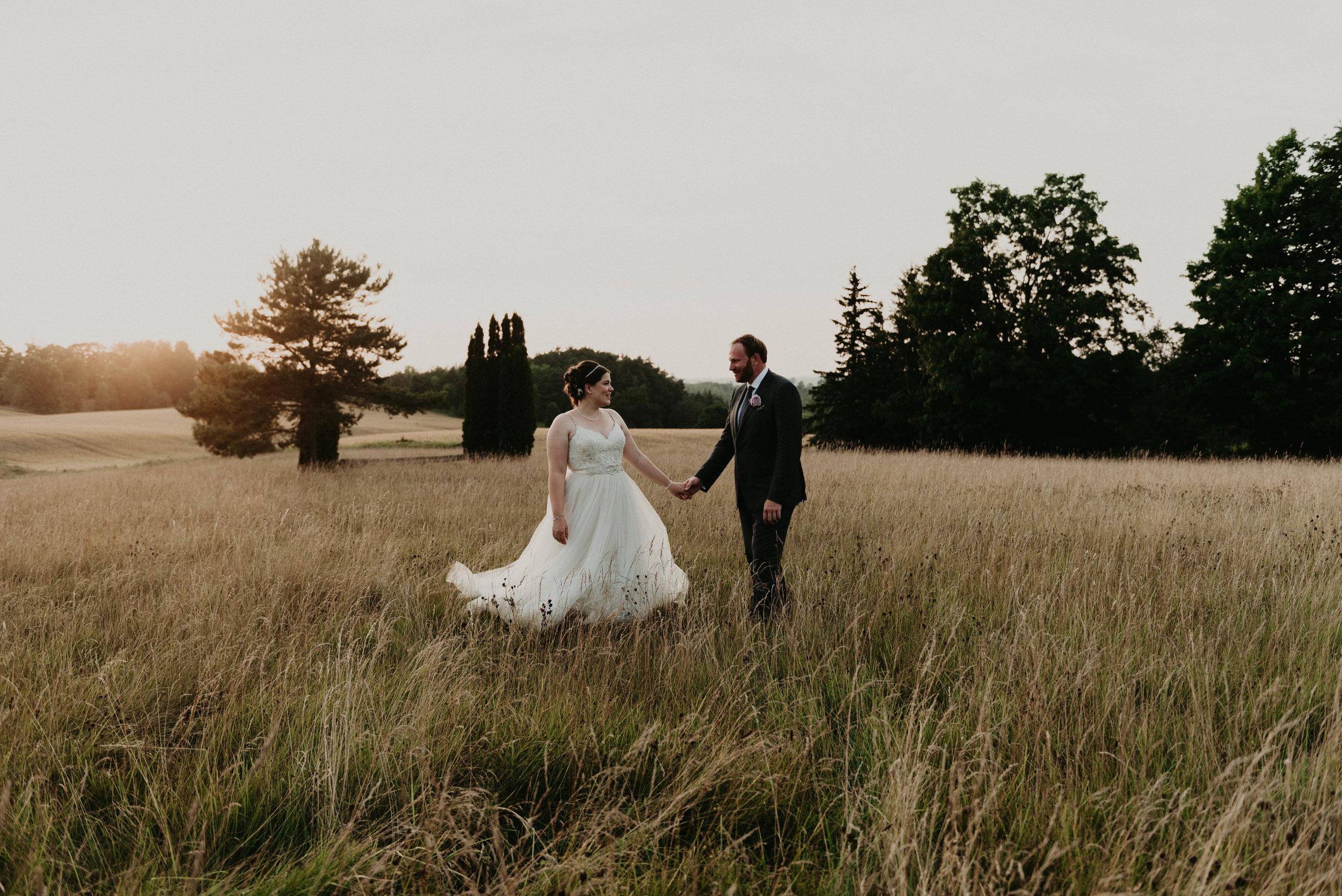 Couples wedding portraits at golden hour
