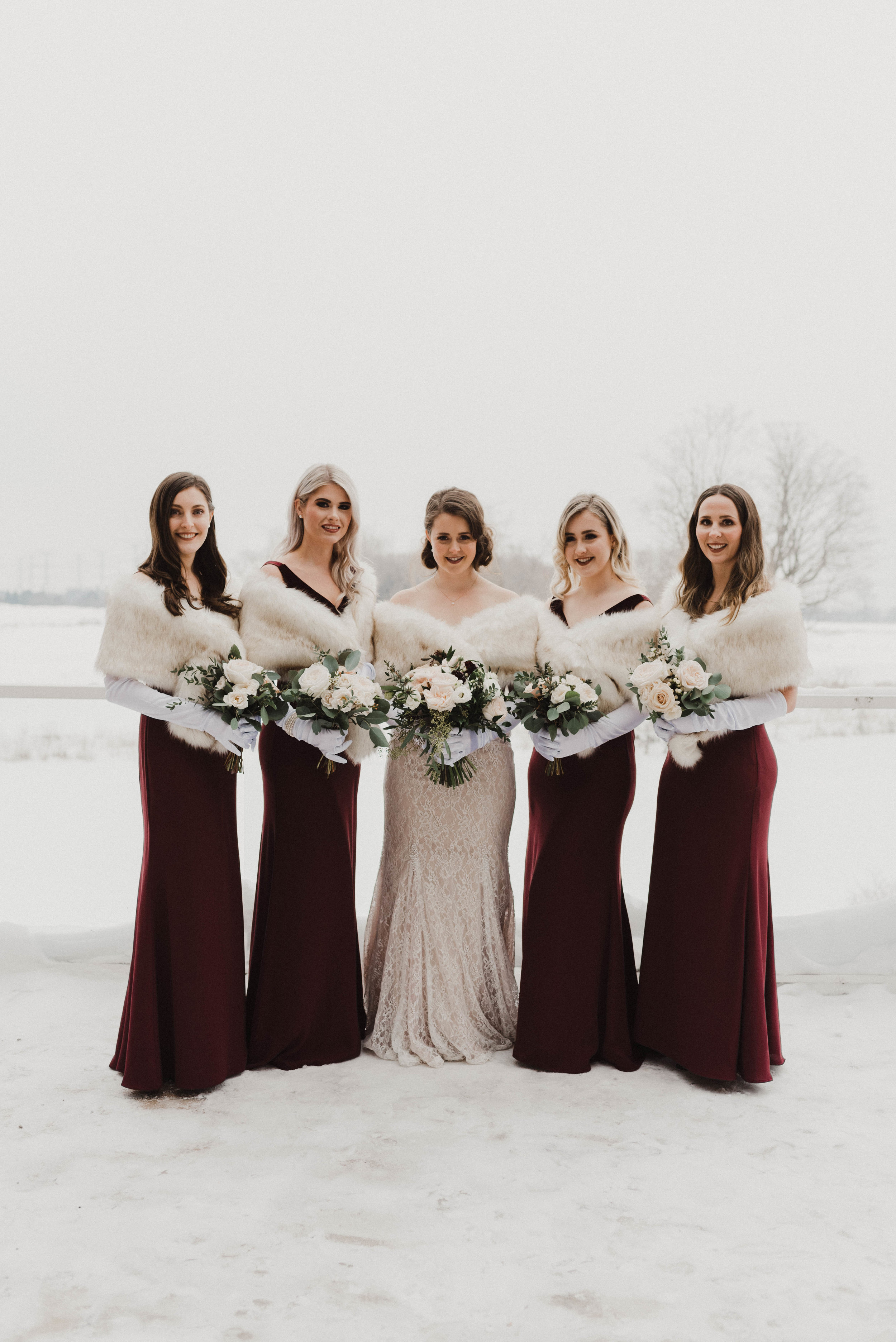 Bride with bridesmaids and maid of honour