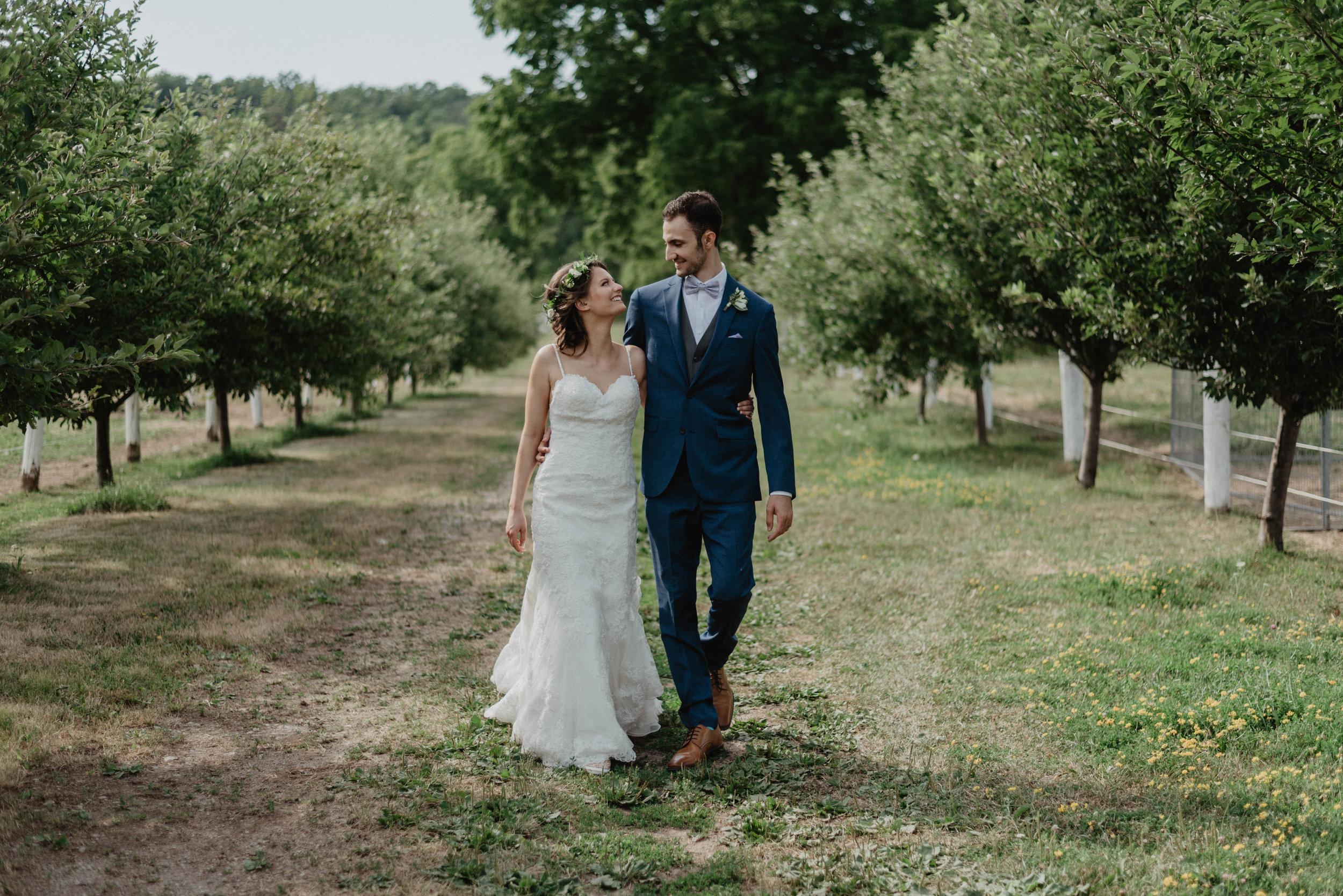 Apple orchard wedding portrait