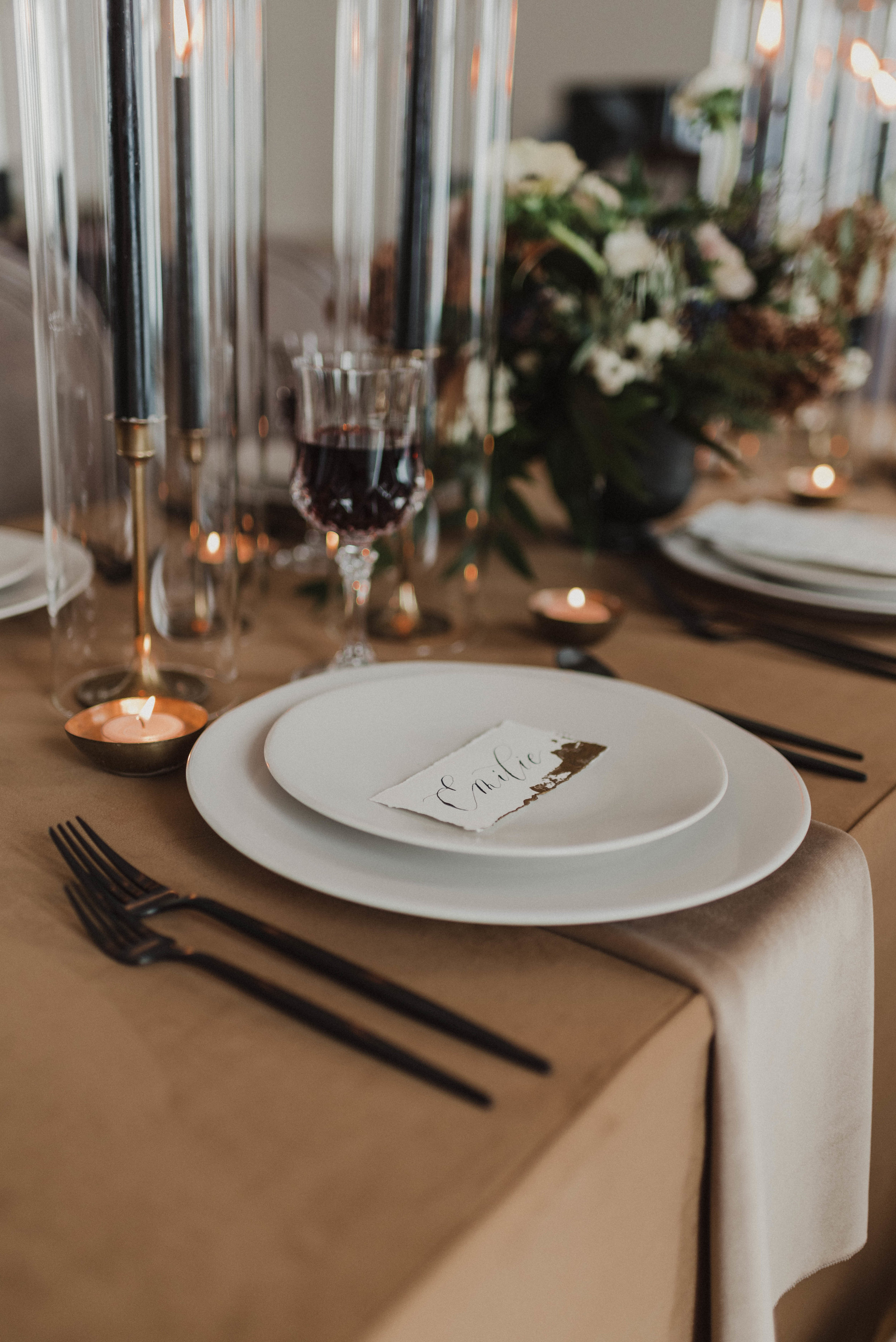 Place setting at head table.