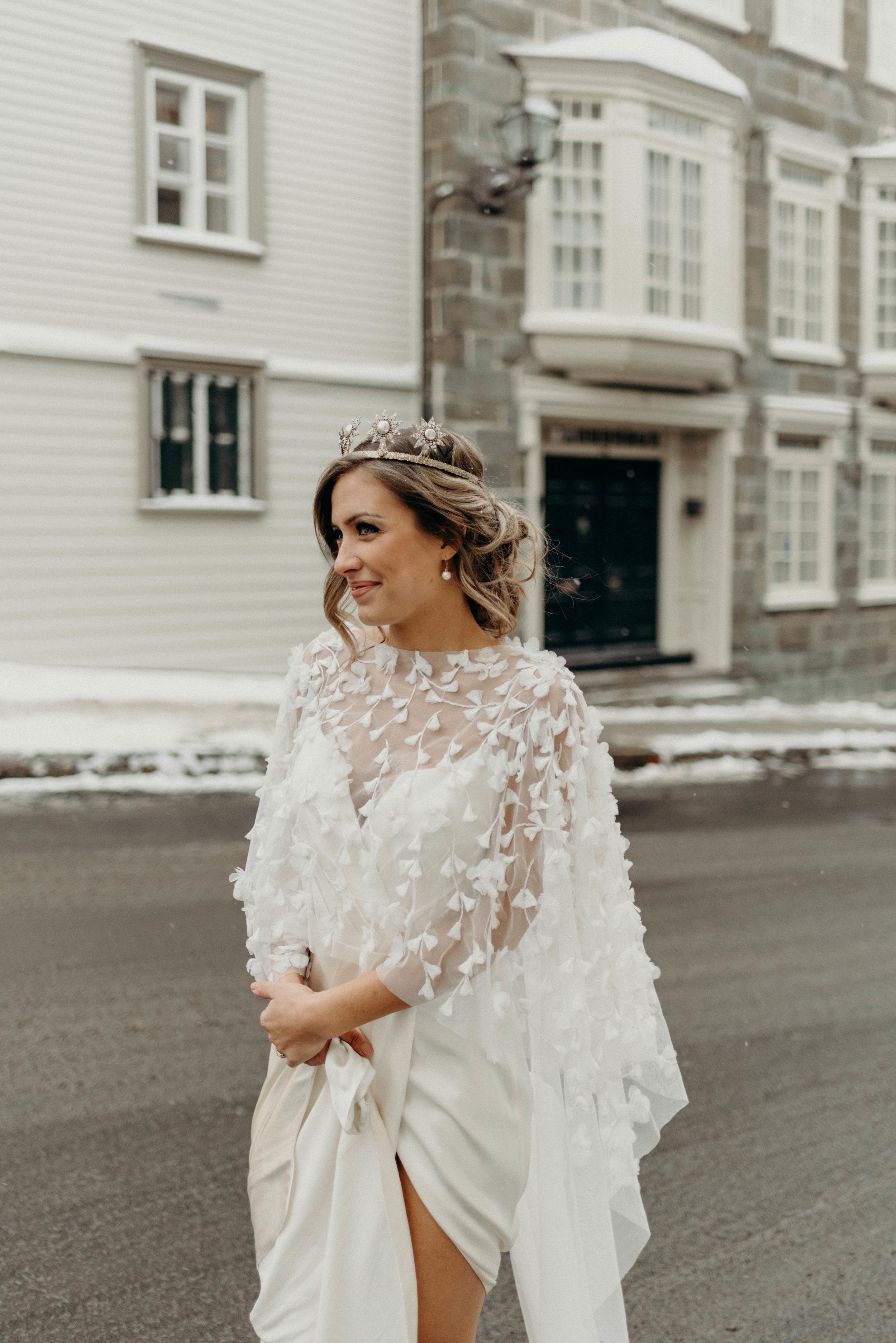 Quebec City Canada urban bridal portrait