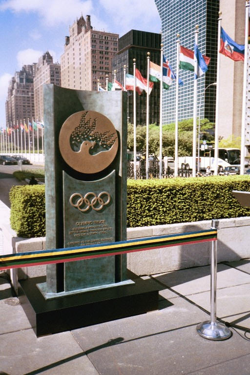 """""""The Olympic Truce,"""" by Rosa Serra (bronze &marble, 2001), UN headquarters, New York"""