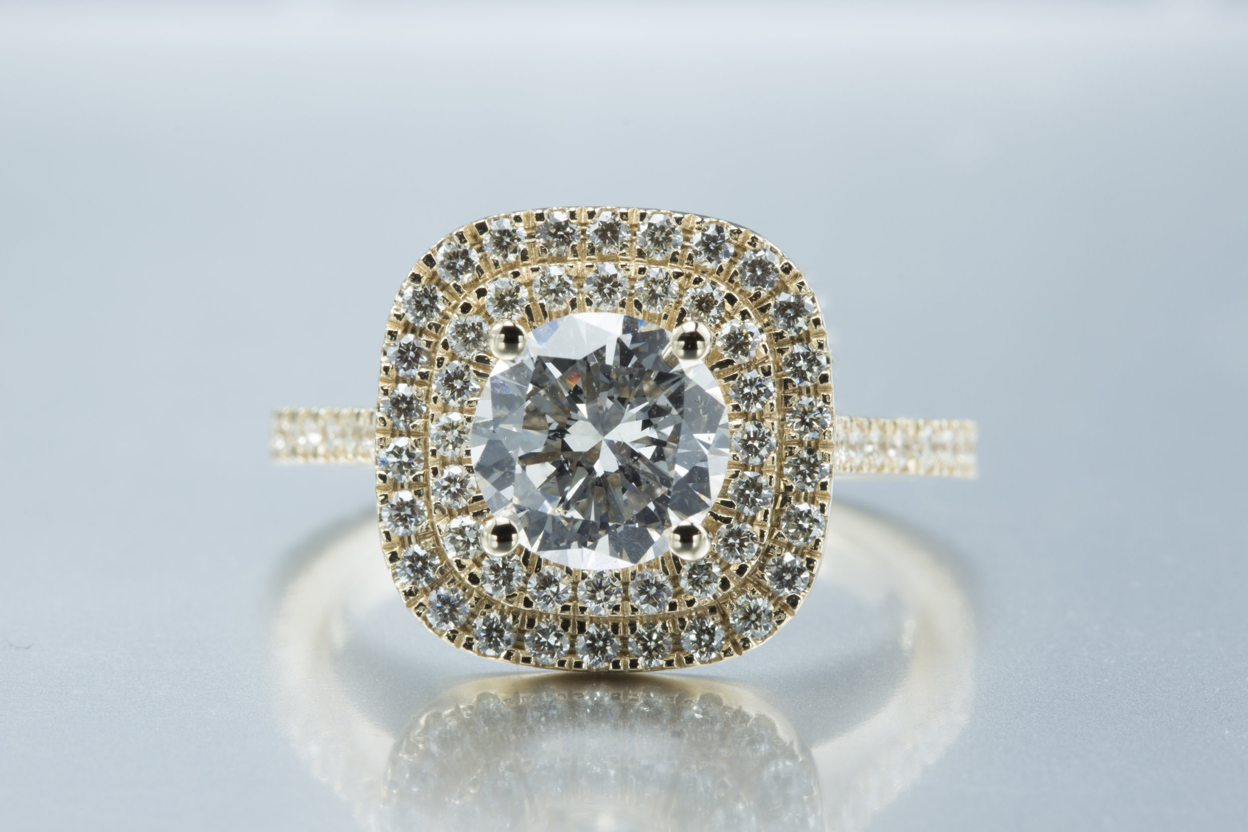 Double Halo Diamond Ring with 14K Yellow Gold - Square Diamond Ring with Diamond Center stone and diamonds all around.