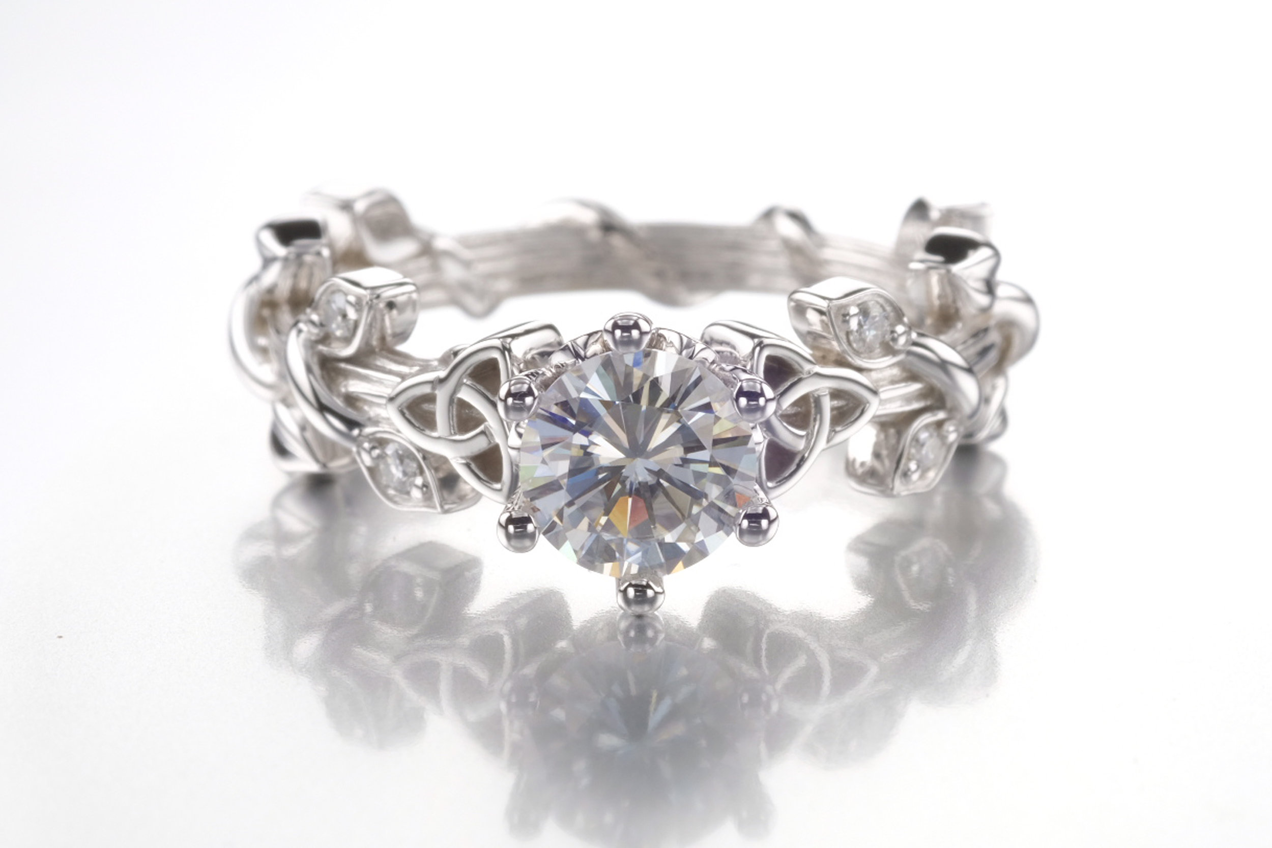 Trinity Diamond Ring 14K White Gold - A vintage-style engagement ring that resulted in an angelic one-of-a-kind ring that embodies elegance.