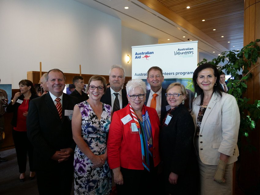 Cardno Area Manager Colin Adams, The Whitelum Group Director & CEO Dr Bernadette Whitelum, AVI Board Director David Singleton, AVI Chairwoman Kathy Townsend, AVI CEO Paul Bird, AVI Board Director Wendy Tyrrell and Senator Fierrvanti-Wells at the launch of the new Australian Volunteers program event at Parliament House, Canberra.
