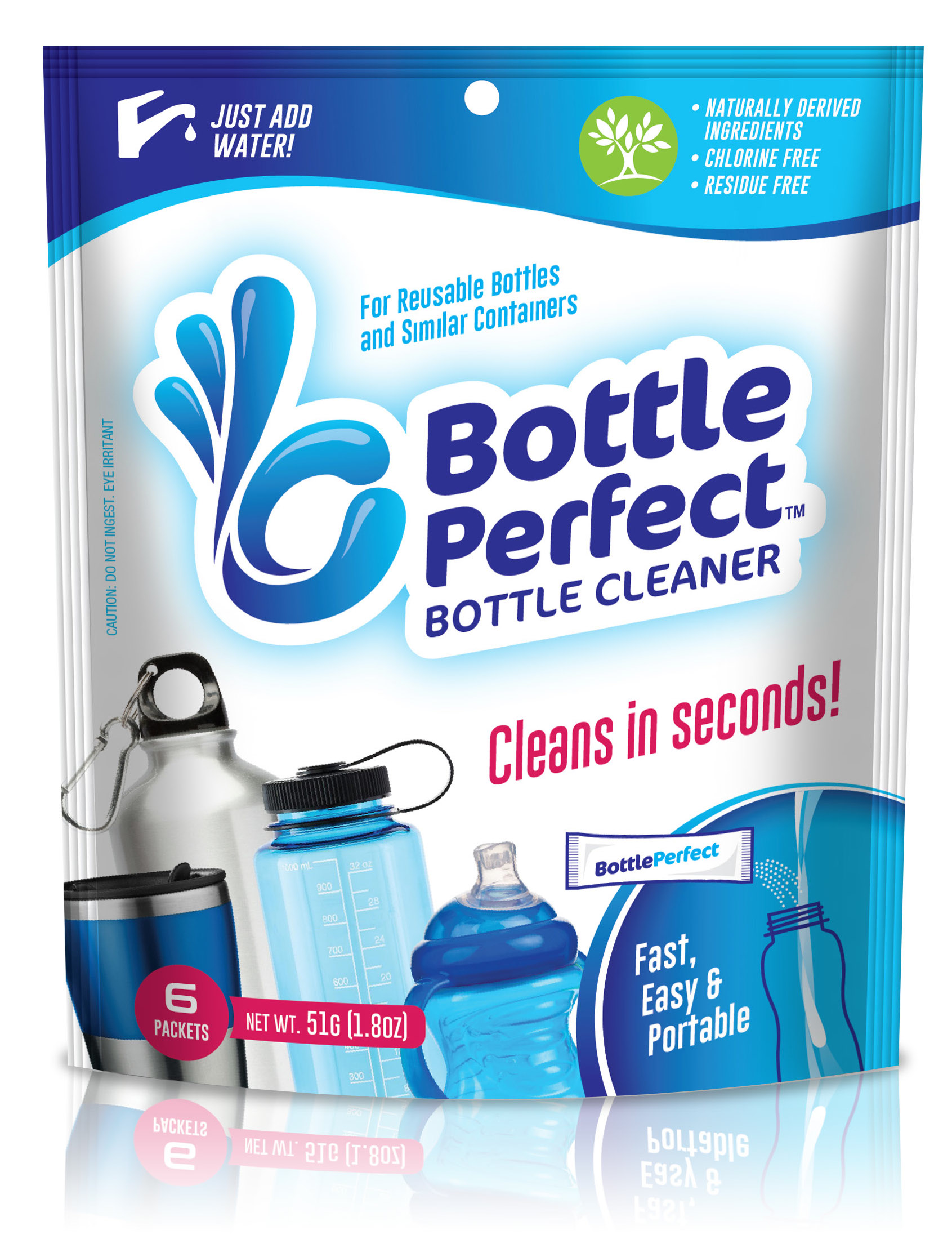 Cleans Bottles in Seconds! - Reusable bottles and similar containers can be difficult to clean. Our product, BottlePerfect, makes it easy to effectively clean anywhere, anytime. Removes stuck on stains, odors, and residues safely and effectively.