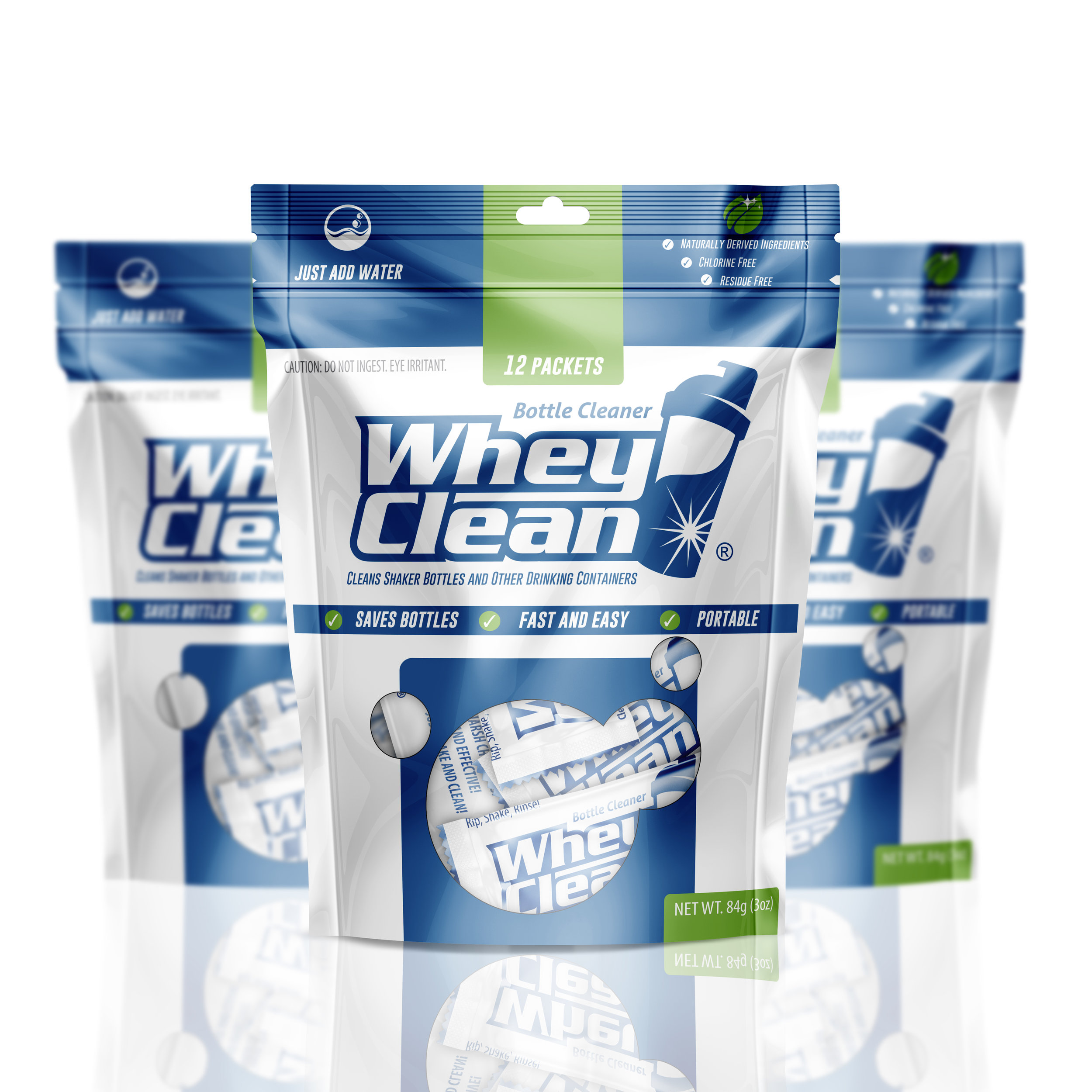 Shakers Stink. WheyClean® Cleans them. - Just rip open a packet, shake with water, and rinse! Soaks away nasty stains and odors left behind by protein, supplements, and other drinks.