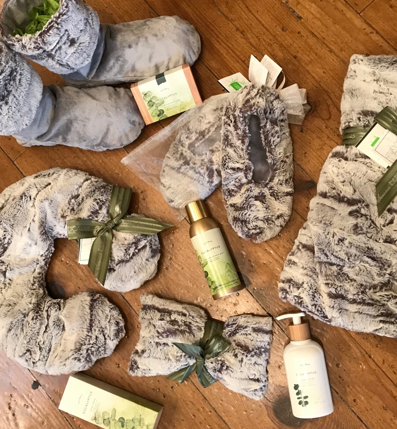 Thymes Eucalyptus and Sonoma Eucalyptus slippers, wraps and blankets.