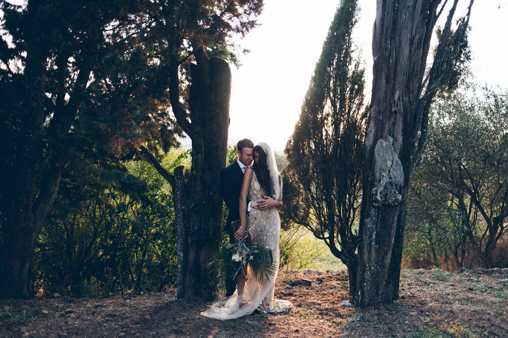 Sheer gold sequin wedding dress