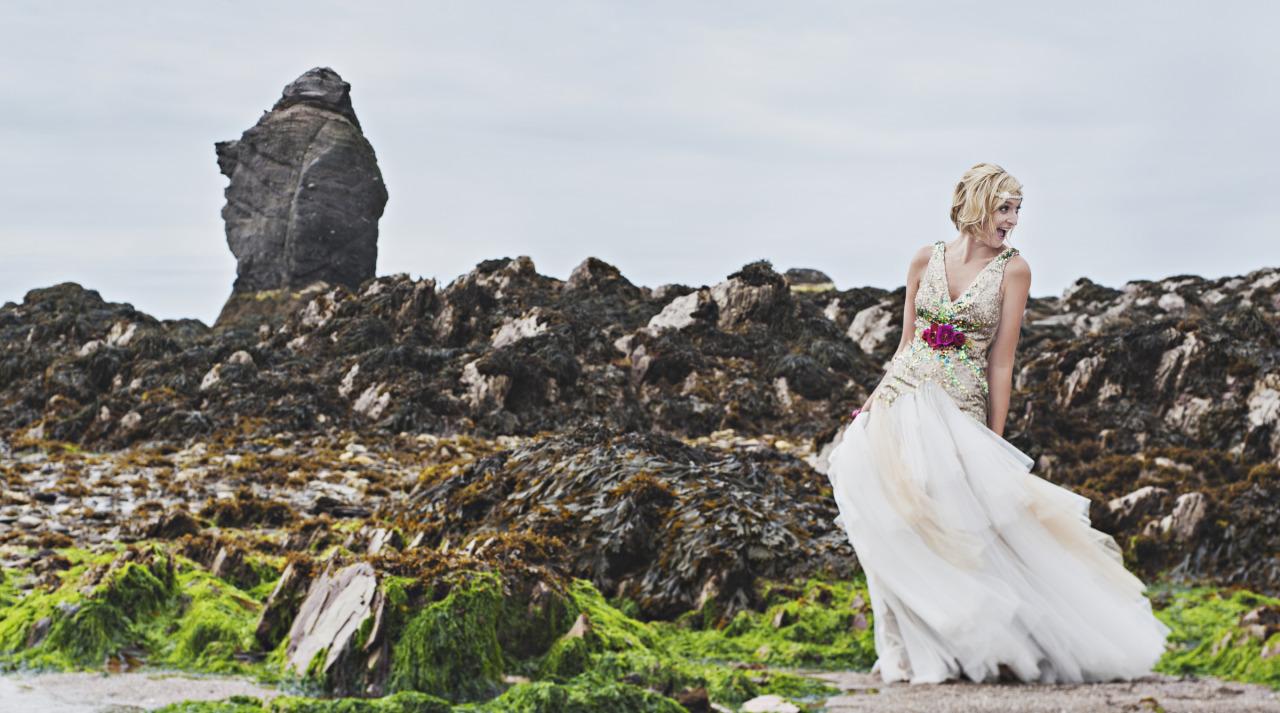 mermain sequin beach wedding dress