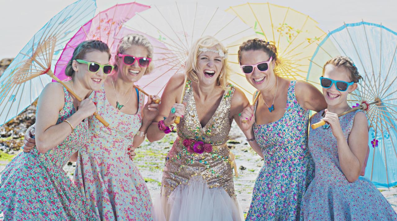 colourful fun wedding dress
