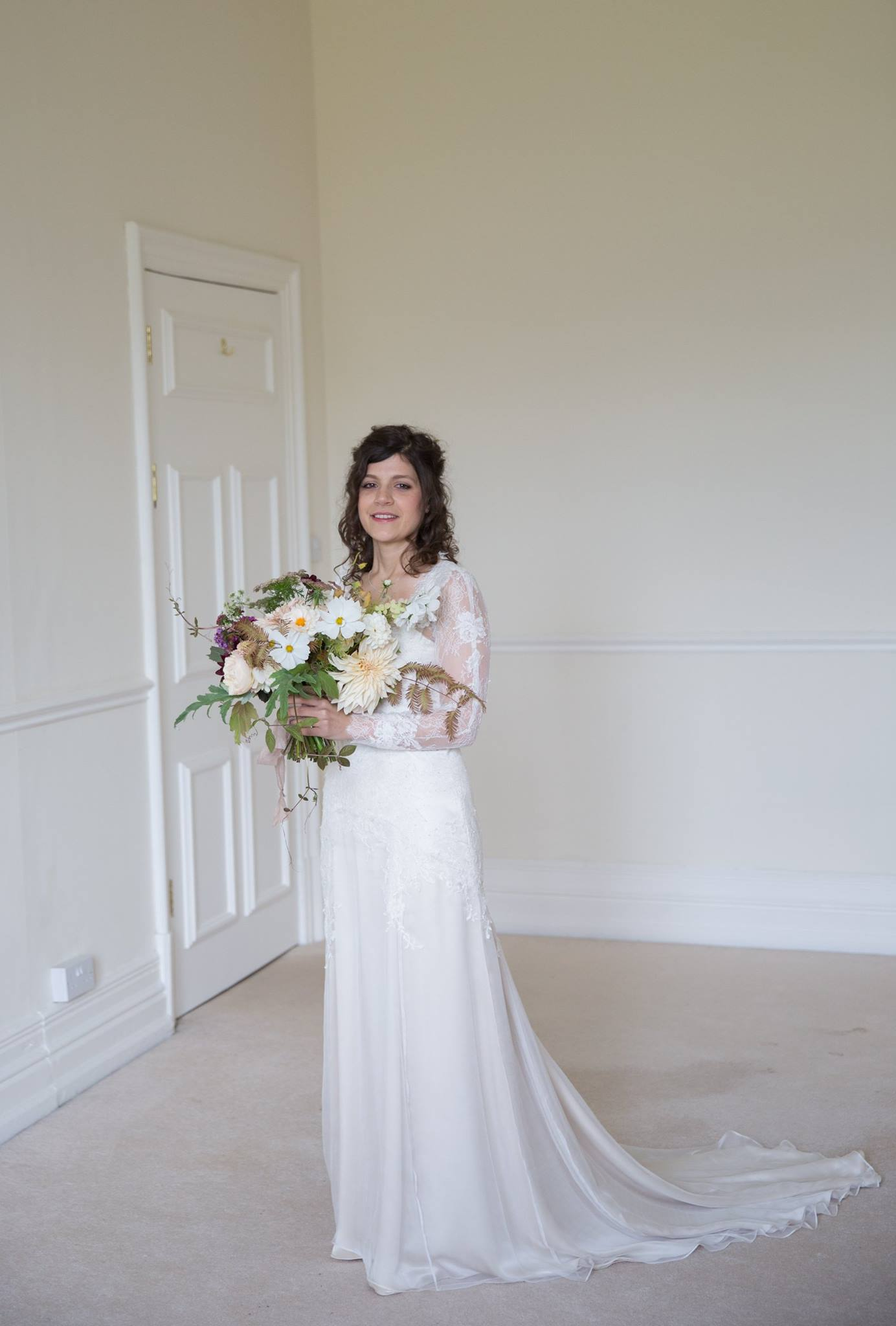 Marian's dress was made using peace silk, from  Majestic textiles, a UK organic silk supplier , and pretty laces in polyester and cotton from  Platinum bridal fabrics .