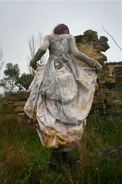 A wedding dress coloured using eco-dyes by renowned textile artist India Flint.