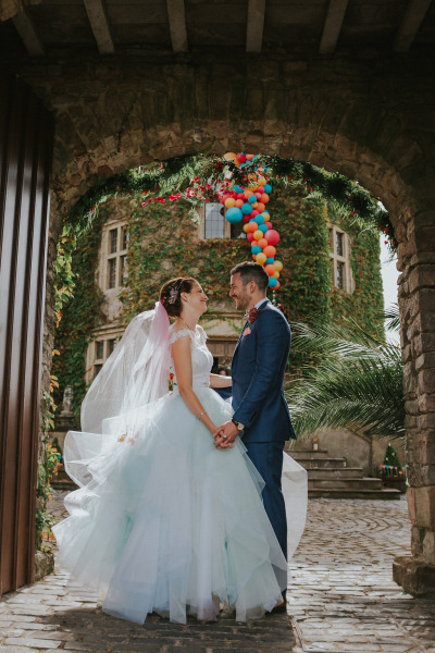 Kirstie is vegan, and so didn't want to use any animal product at all in her wedding dress. To create the ballgown style wedding dress skirt, by chance, man-made fibres gave the best volume for this style.
