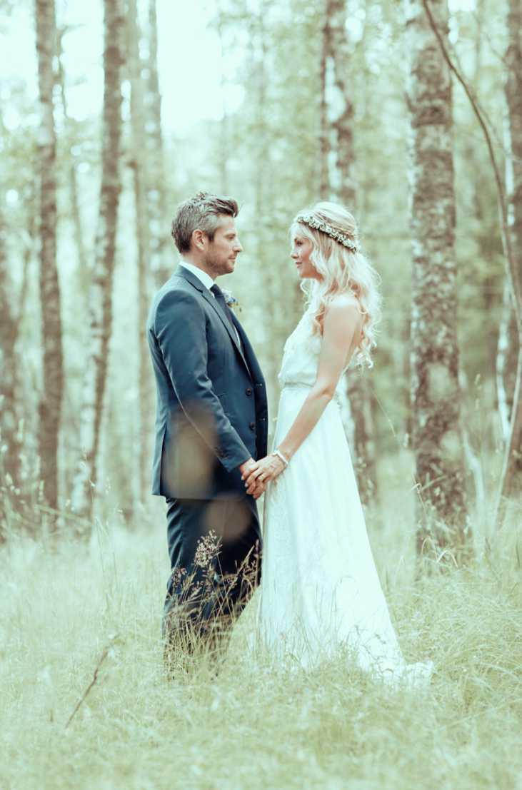 white bohemian lace wedding dress