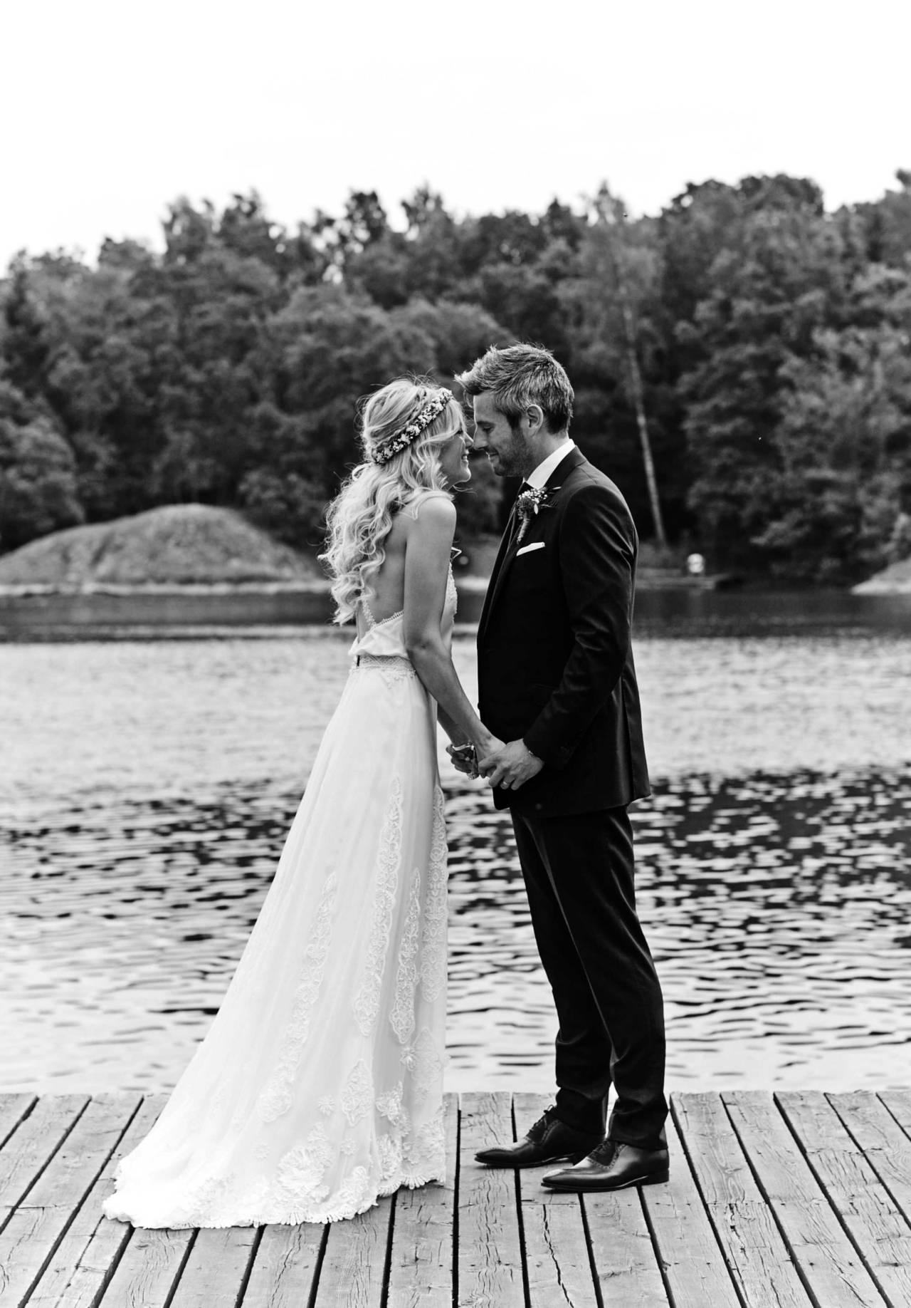 Lace hem boho wedding dress