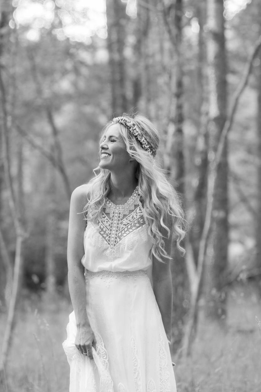 boho lace embroidery halter wedding dress