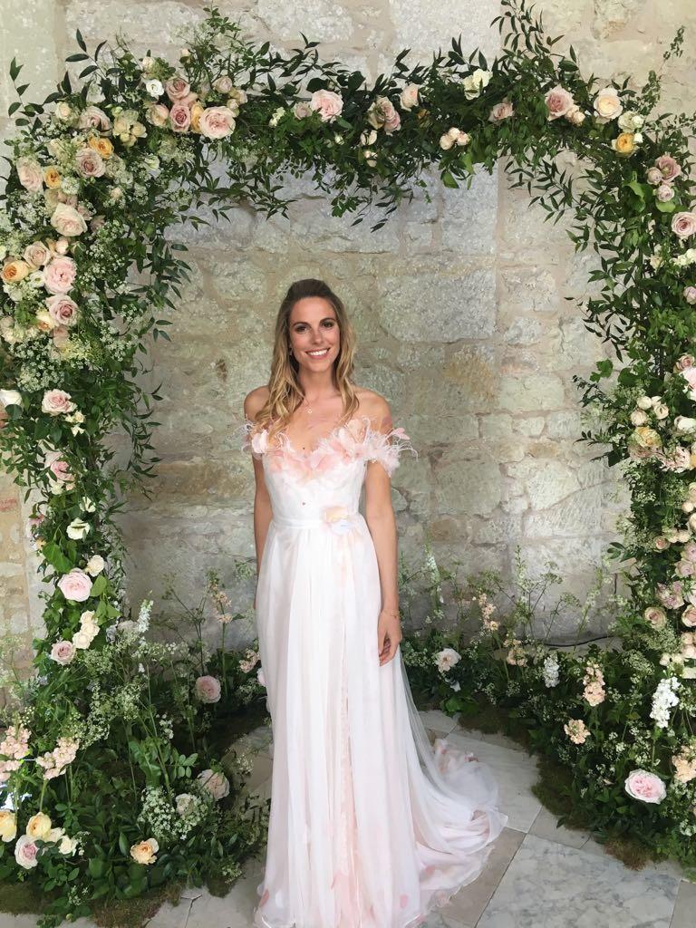 blush pink chiffon wedding dress