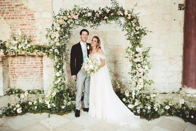 pink ombre petal wedding dress