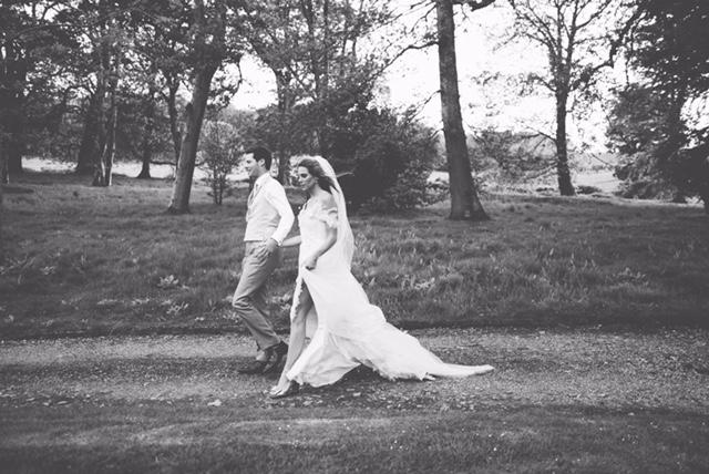 thigh split flowing chiffon wedding dress