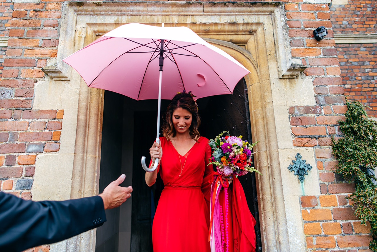 Red Wedding Dress Pink Umbrella