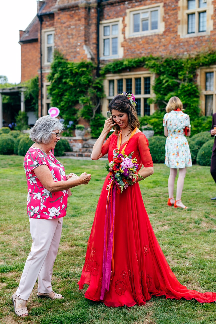 Red wedding dress embroidered floral hem
