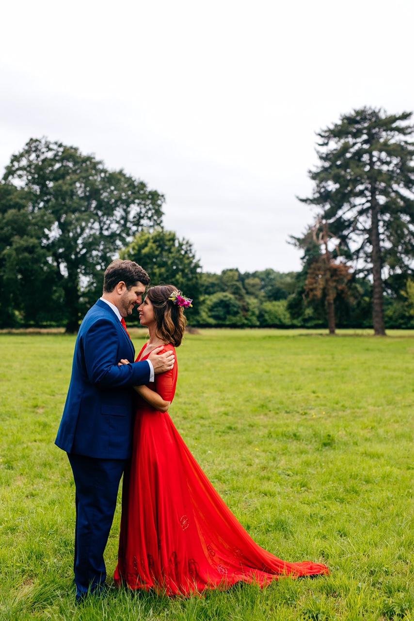 romantic red wedding dress