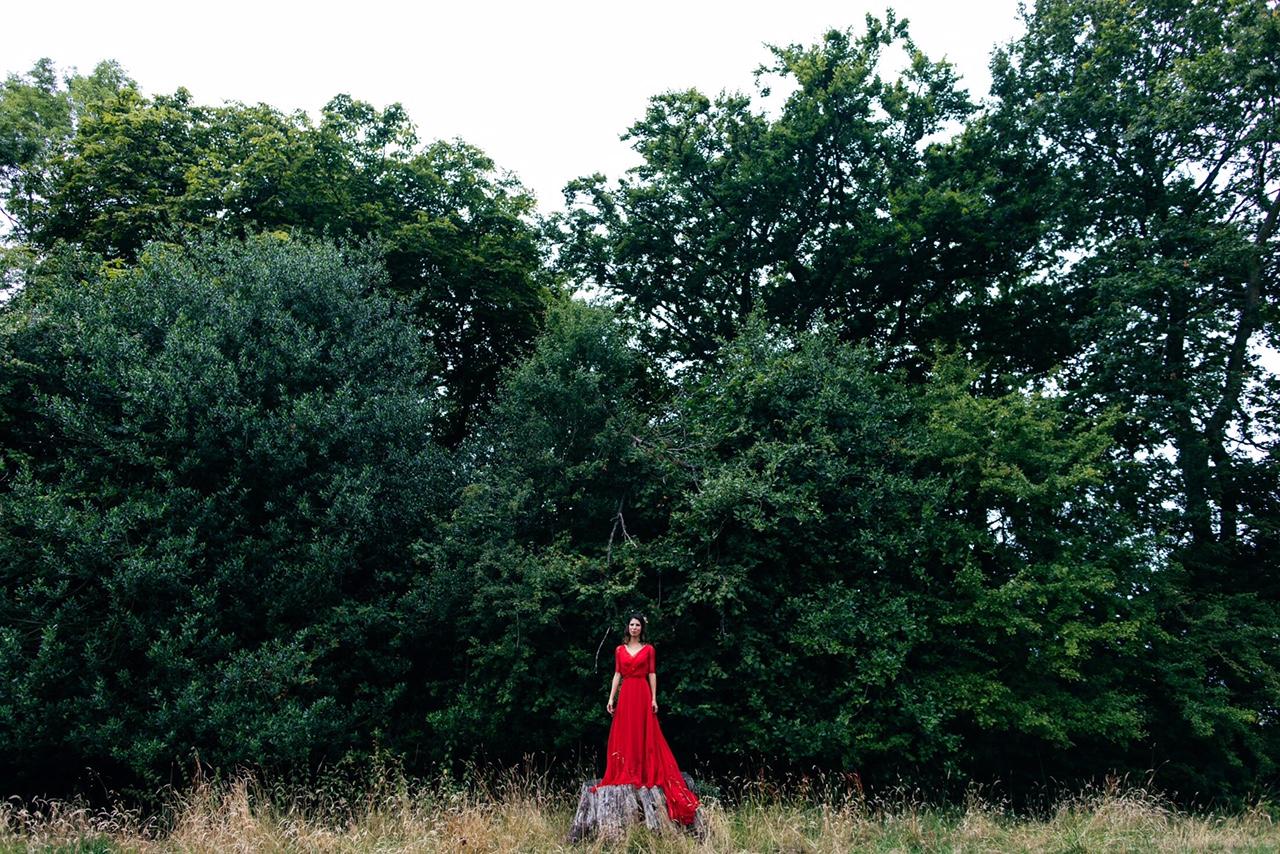 vogue red wedding dress