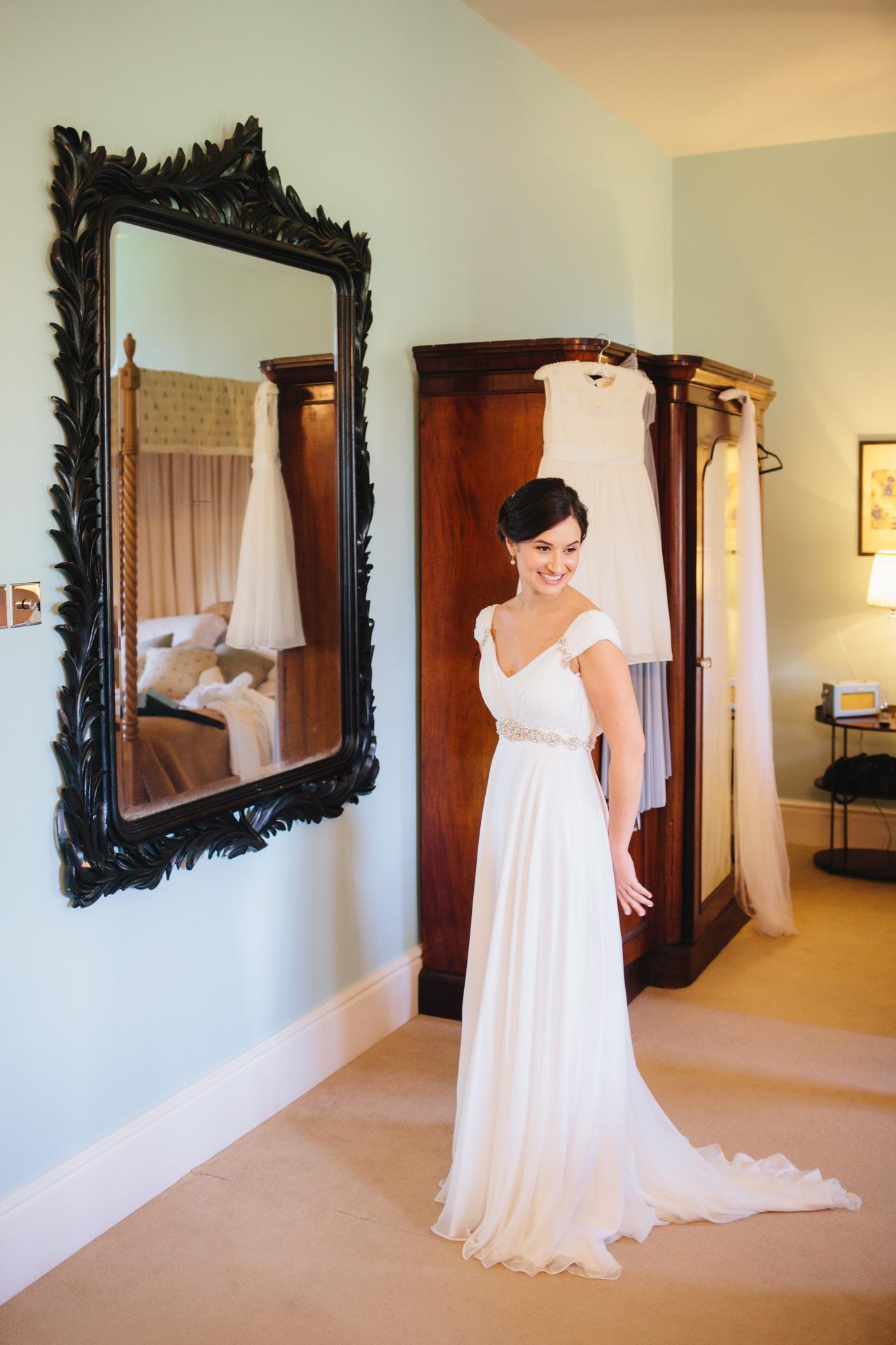 white chiffon wedding dress