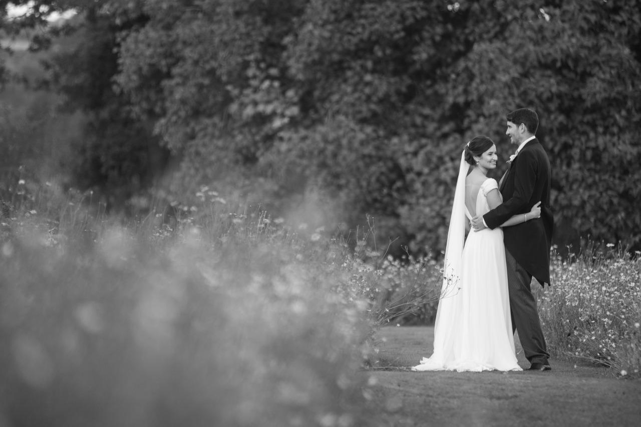 low back white chiffon wedding dress