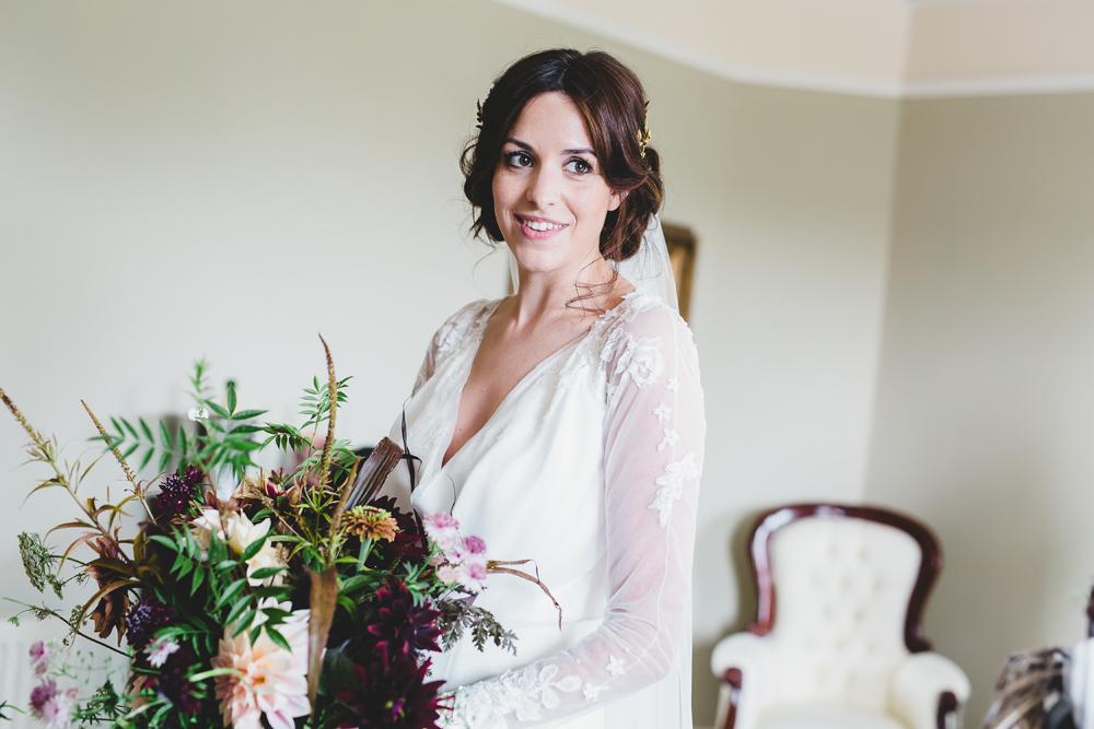 blouson, cross-over, lace sleeve wedding dress