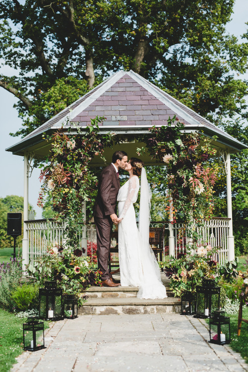 blouson, sheer sleeves, chiffon veil, wedding dress