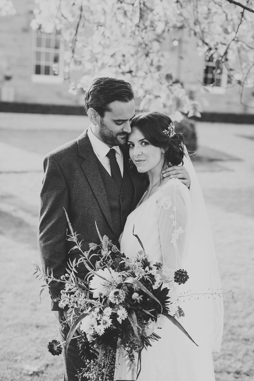 chiffon and lace white wedding dress