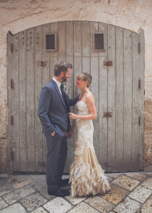 gold and white lace feather wedding dress