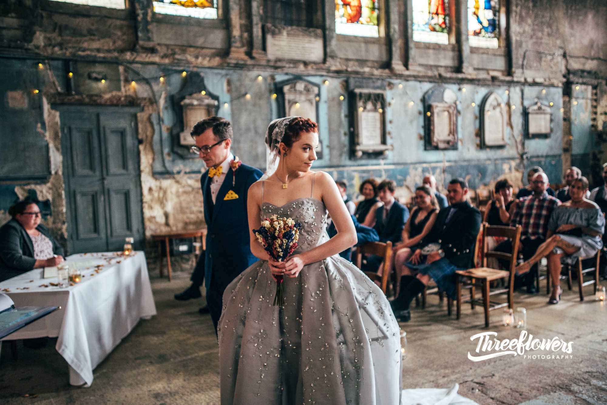 silver grey crystal crinoline wedding dress