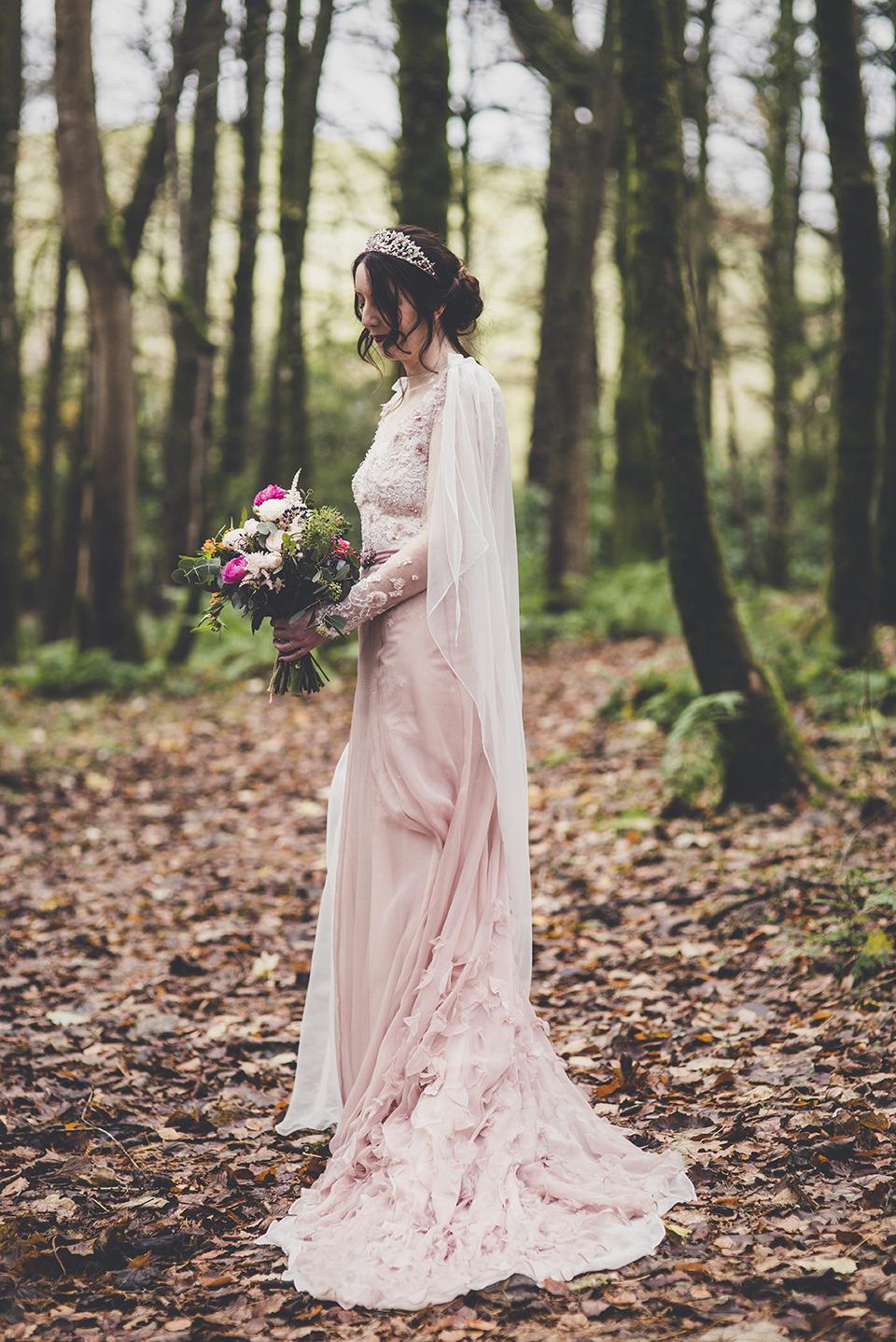 pink petal wedding dress