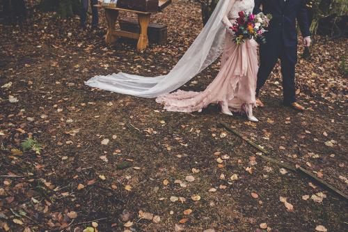 pink wedding dress chiffon petals