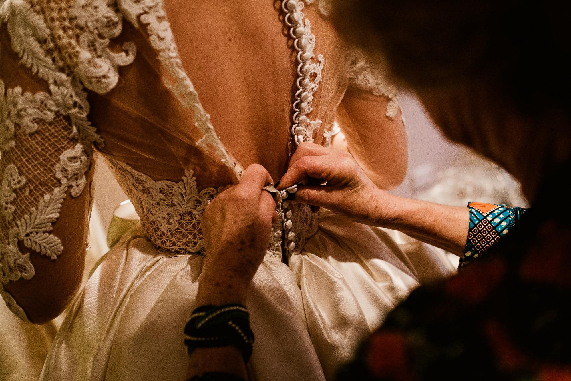 buttoned wedding dress