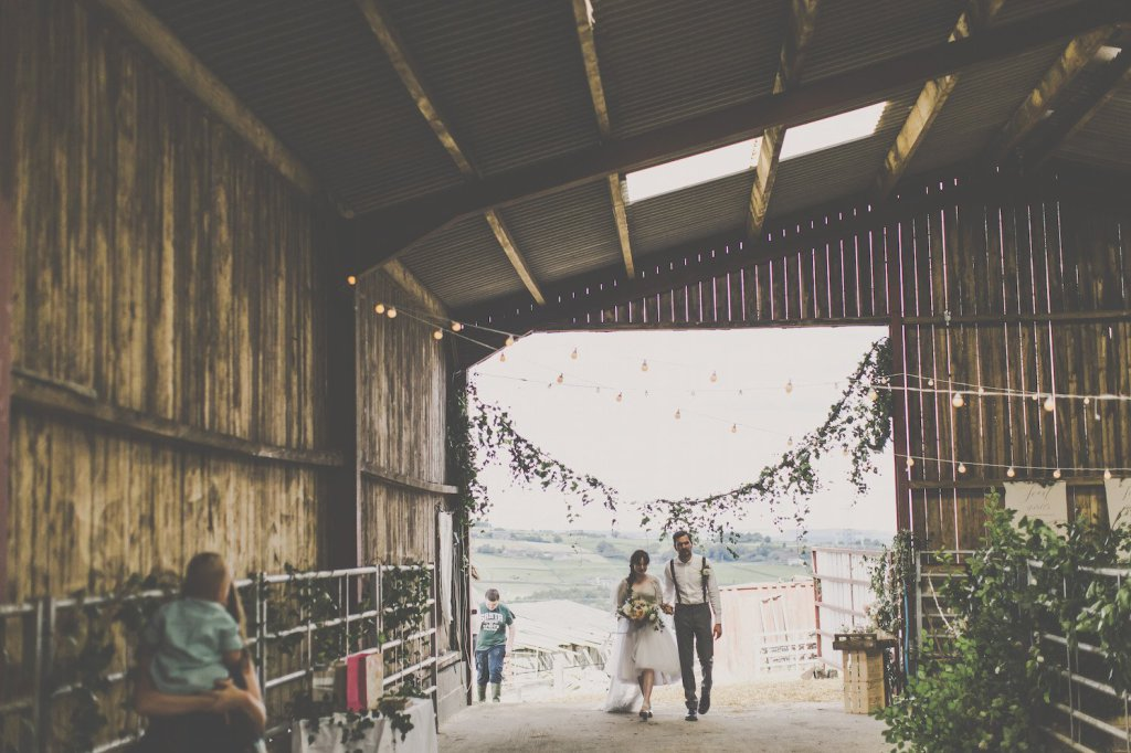 me and orla wedding in a cow shed