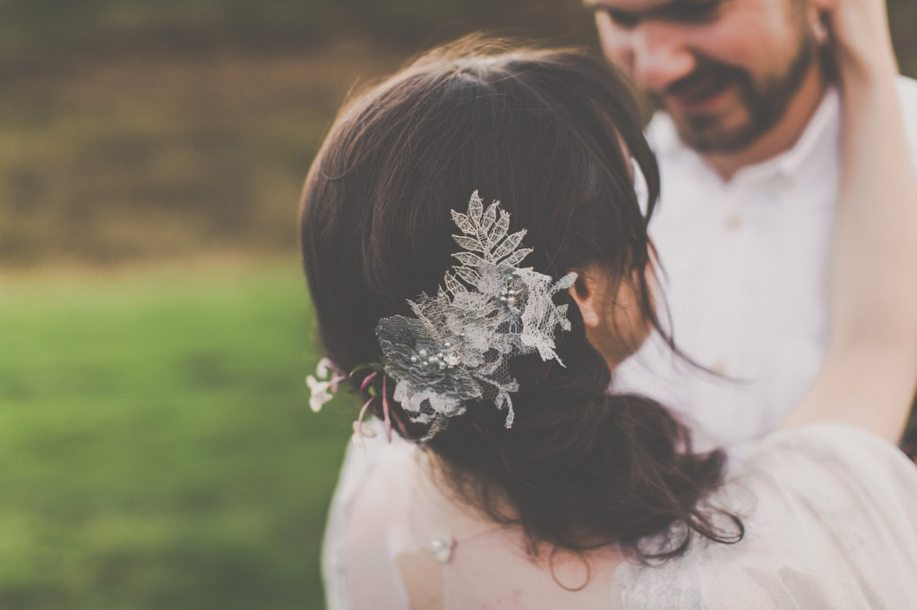 Silver lace wedding hair accessory
